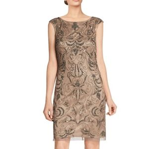 ADRIANNA PAPELL Shift Beaded Dress